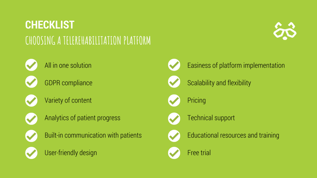 Checklist for choosing a telerehabilitation platform
